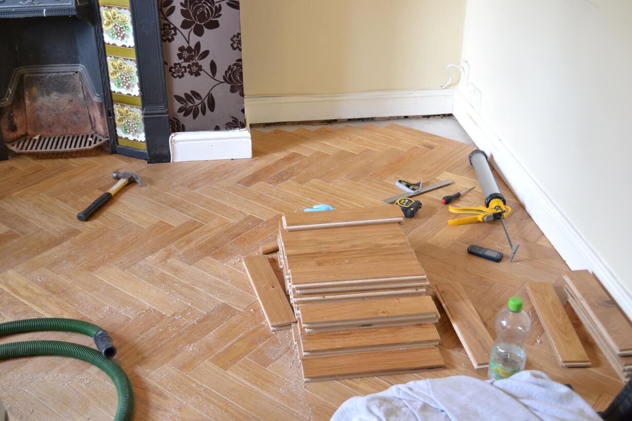 3 Oak News Fitting Engineered Herringbone Parquet Flooring